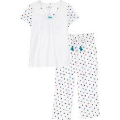 Piżamy damskie: Piżama ze spodniami 3/4 bonprix biel wełny wzorzysty