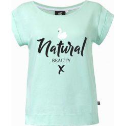 Koszulka miętowa Natural Beauty. Zielone bluzki z odkrytymi ramionami marki Pakamera. Za 89,00 zł.