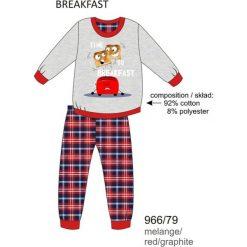 Bielizna chłopięca: Piżama chłopięca DR 966/79 Breakfast Melanż szara r. 140