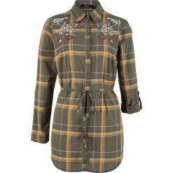 Bluzki damskie: Długa bluzka z haftem bonprix ciemnooliwkowy w kratę
