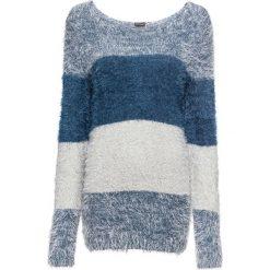 Sweter z przędzy z długim włosem w paski bonprix indygo-jasnoszary w paski. Niebieskie swetry klasyczne damskie bonprix, z dzianiny, z okrągłym kołnierzem. Za 89,99 zł.
