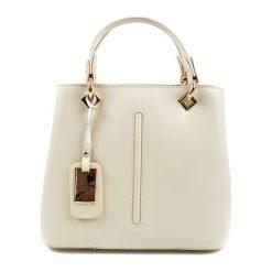 Torebki klasyczne damskie: Skórzana torebka w kolorze beżowym – (S)30 x (W)24 x (G)14 cm