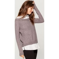 Sweter z koszulowymi elementami - Szary. Szare swetry klasyczne damskie Mohito, l, z koszulowym kołnierzykiem. Za 119,99 zł.