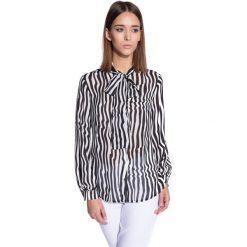 Koszula w pasy zapinana na guziki  BIALCON. Białe koszule damskie marki BIALCON, w paski, wizytowe. W wyprzedaży za 74,00 zł.