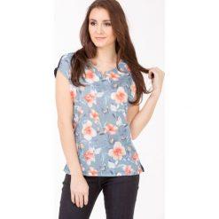 T-shirty damskie: T-shirt z kwiatowym panelem