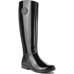 Kalosze EMPORIO ARMANI - X30173 XF304 00002 Black. Szare buty zimowe damskie marki Emporio Armani, l, z nadrukiem, z bawełny, z okrągłym kołnierzem. Za 599,00 zł.