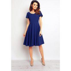 Sukienki: Koktajlowa Niebieska Elegancka Rozkloszowana Sukienka