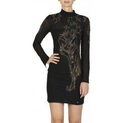 Guess Sukienka Damska Xs Czarny. Czarne sukienki z falbanami Guess, xs, z aplikacjami. W wyprzedaży za 559,00 zł.