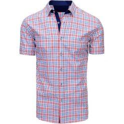 Koszule męskie na spinki: Czerwono-niebieska koszula męska w kratę (kx0850)