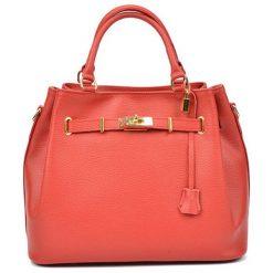 Torebki klasyczne damskie: Skórzana torebka w kolorze czerwonym – (S)38 x (W)30 x (G)20 cm