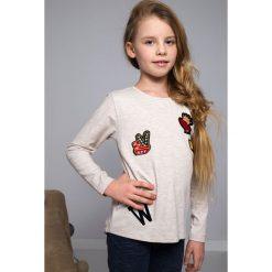 T-shirty dziewczęce: Bluzka z Naszywkami beżowa NDZ8129