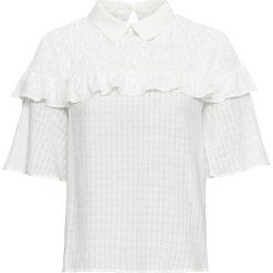 Bluzki damskie: Bluzka z falbanami bonprix biel wełny
