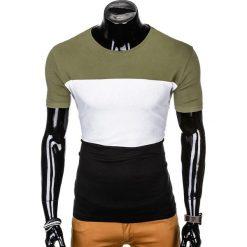 T-SHIRT MĘSKI Z NADRUKIEM S1005 - KHAKI/CZARNY. Zielone t-shirty męskie z nadrukiem marki Ombre Clothing, na zimę, m, z bawełny, z kapturem. Za 29,00 zł.