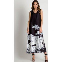 Długie sukienki: Czarna sukienka maxi z białą aplikacją BIALCON