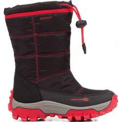 """Kozaki zimowe """"Himalaya"""" w kolorze czerwono-czarnym. Czarne buty zimowe chłopięce marki geox kids, z gumy. W wyprzedaży za 185,95 zł."""