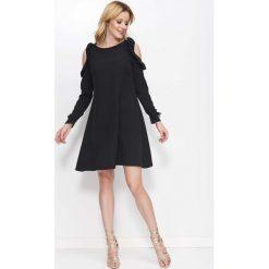 Sukienki hiszpanki: Czarna Sukienka o Kształcie Litery A z Wiązanymi Rękawami