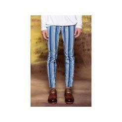 Spodnie slim fit niebieskie pasy. Szare rurki męskie marki Button. Za 299,00 zł.