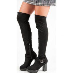 KOZAKI MUSZKIETERKI NA SŁUPKU. Czarne buty zimowe damskie marki SUPER ME, na słupku. Za 129,90 zł.