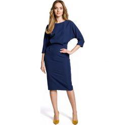 Sukienka odcinana w pasie moe360. Niebieskie sukienki na komunię marki SaF, na co dzień, xl, z żakardem, z asymetrycznym kołnierzem, dopasowane. Za 129,00 zł.