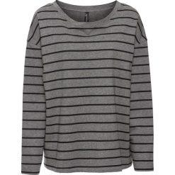 Bluza dresowa w paski bonprix szary melanż - czarny w paski. Szare bluzy damskie bonprix, melanż, z dresówki. Za 59,99 zł.
