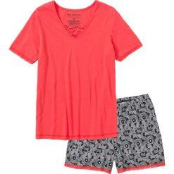 Piżamy damskie: Piżama z dłuższymi szortami bonprix koralowy z nadrukiem
