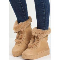 Camelowe Śniegowce Little Dev. Brązowe buty zimowe damskie Born2be, z materiału. Za 69,99 zł.