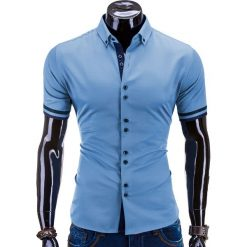 KOSZULA MĘSKA Z KRÓTKIM RĘKAWEM K260 - NIEBIESKA. Brązowe koszule męskie na spinki marki Ombre Clothing, m, z aplikacjami, z kontrastowym kołnierzykiem, z długim rękawem. Za 49,00 zł.