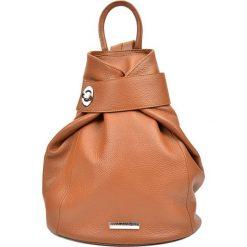 Plecaki damskie: Skórzany plecak w kolorze jasnobrązowym – 33,5 x 34 x 1 cm