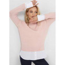 Sweter z koszulowymi wstawkami. Brązowe swetry klasyczne damskie marki Orsay, xs, z bawełny, z golfem. Za 119,99 zł.