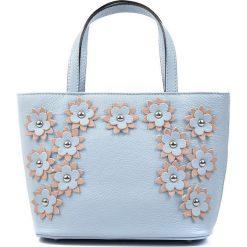 Torebki klasyczne damskie: Skórzana torebka w kolorze błękitnym – 20,5 x 29 x 11 cm