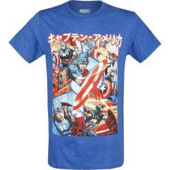 Captain America Anime Panels T-Shirt odcienie niebieskiego. Niebieskie t-shirty męskie z nadrukiem Captain America, m, z okrągłym kołnierzem. Za 74,90 zł.