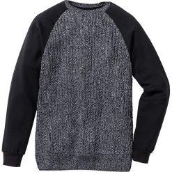 Sweter z rękawami i tyłem z dzianiny dresowej Slim Fit bonprix czarny. Czarne swetry klasyczne męskie marki bonprix, l, z nadrukiem, z dresówki. Za 59,99 zł.