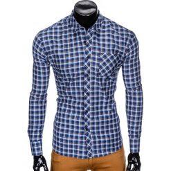 KOSZULA MĘSKA W KRATĘ Z DŁUGIM RĘKAWEM K420 - GRANATOWA/BRĄZOWA. Brązowe koszule męskie na spinki Ombre Clothing, m, z bawełny, z długim rękawem. Za 49,00 zł.