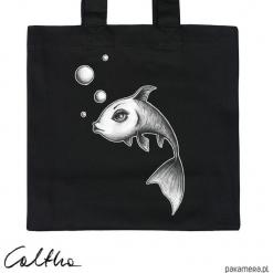 Ryba - torba premium. Czarne shopper bag damskie Pakamera, z materiału. Za 79,00 zł.