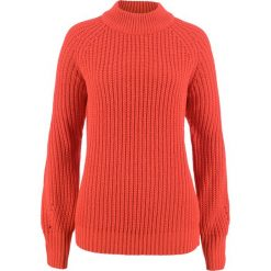 Sweter ze stójką bonprix pomarańczowy matowy. Brązowe swetry klasyczne damskie marki bonprix, ze stójką. Za 69,99 zł.