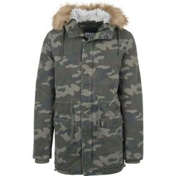 Urban Classics Garment Washed Camo Parka Kurtka zimowa kamuflaż Woodland. Niebieskie kurtki męskie zimowe marki Urban Classics, l, z okrągłym kołnierzem. Za 199,90 zł.