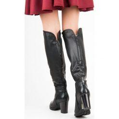 Buty zimowe damskie: Czarne kozaki na słupku SYDNEY