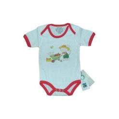 Ebi & Ebi  Fairtrade Body dziecięce pomidor - czerwony. Niebieskie body niemowlęce marki Ebi & Ebi, z bawełny, z długim rękawem. Za 32,00 zł.