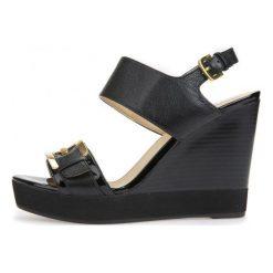 Geox Sandały Damskie Donna Janira 36 Czarne. Czarne sandały damskie Geox, na wysokim obcasie, na koturnie. W wyprzedaży za 379,00 zł.