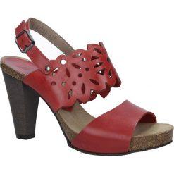 Czerwone sandały skórzane ażurowe na słupku Nessi 18342. Czarne sandały damskie na słupku marki Nessi, z materiału. Za 218,99 zł.