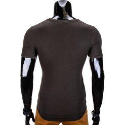 T-SHIRT MĘSKI Z NADRUKIEM S841 - KHAKI. Brązowe t-shirty męskie z nadrukiem Ombre Clothing, m. Za 29,00 zł.