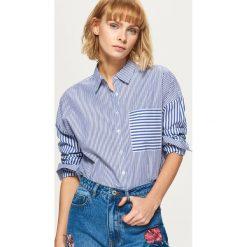 Koszule damskie: Koszula w pionowe paski – Niebieski