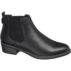 Sztyblety damskie Graceland czarne. Czarne botki damskie na obcasie marki Graceland, z materiału, klasyczne. Za 99,90 zł.