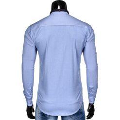 KOSZULA MĘSKA Z DŁUGIM RĘKAWEM K360 - BŁĘKITNA. Brązowe koszule męskie na spinki marki Ombre Clothing, m, z aplikacjami, z kontrastowym kołnierzykiem, z długim rękawem. Za 49,00 zł.