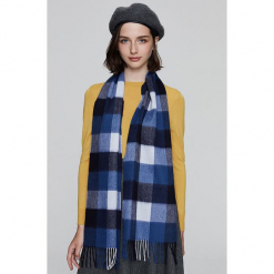 Szal w kolorze niebiesko-szarym - (D)164 x (S)30 cm. Niebieskie szaliki damskie Alissa Cyrine, w kratkę, z kaszmiru. W wyprzedaży za 459,95 zł.