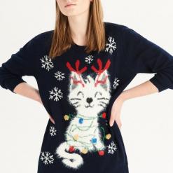 Sweter z puszystym kotem - Granatowy. Czerwone swetry klasyczne damskie marki bonprix. Za 99,99 zł.