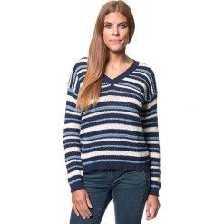 Swetry klasyczne damskie: Sweter w kolorze niebiesko-beżowym
