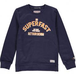 Bluza w kolorze granatowym. Niebieskie bluzy chłopięce marki Retour Denim de Luxe, z nadrukiem, z bawełny. W wyprzedaży za 105,95 zł.