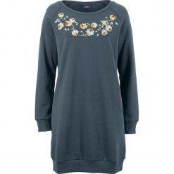 Sukienka dresowa z haftem bonprix nocny niebieski. Szare sukienki dresowe marki bonprix, melanż, z kapturem, z długim rękawem, maxi. Za 89,99 zł.