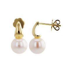Kolczyki damskie: Pozłacane kolczyki z perłami